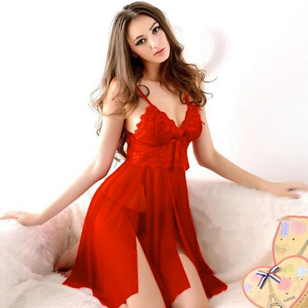 Red Sexy Long Dressing Night Gown Transparent Dress Evening Nightgown Chilazexpress Ltd