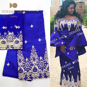 Royal Blue George Lace Fabric With Net Lace African Nigerian