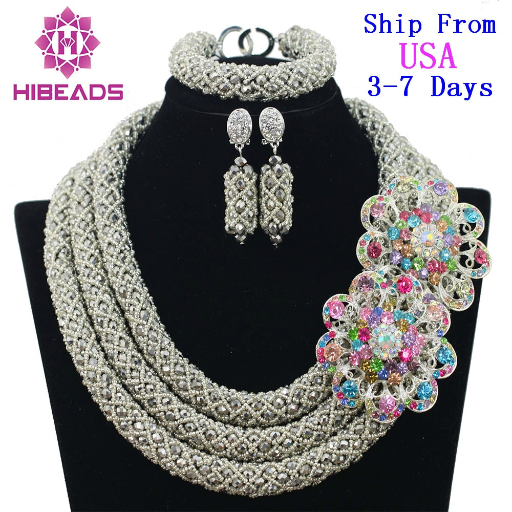 97e63ad6ada90 African Beads Jewelry Set Nigerian Wedding for Brides Party