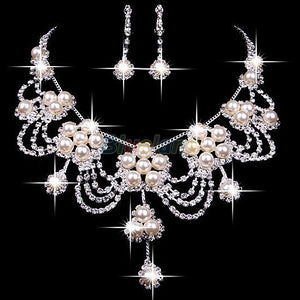Rhinestone Crystal Faux Pearl Necklace Earring Jewelry Set For Bride