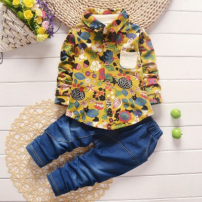 Chilazexpress Spring Baby Clothing Sets Gentleman Toddler Boy Roupas Infant Graffiti jeans Denim pant Boy Clothes suit Newborn kids clothes
