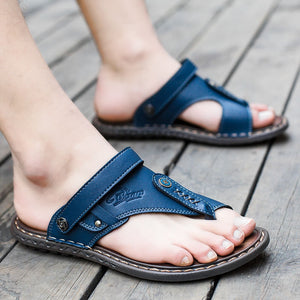 Summer Men slippers Male genuine leather Flip Flops Shoes