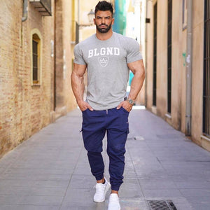 Summer New mens Brand cotton t shirt Fitness bodybuilding clothing