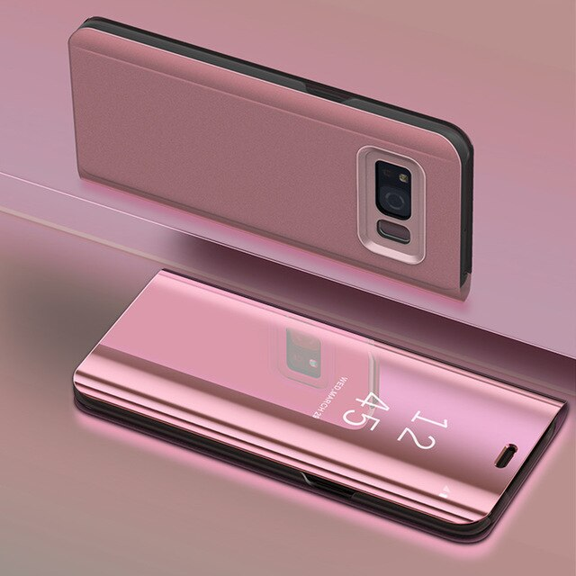 best service 9054c bc48d Touch Flip Stand Case for Samsung Galaxy S10 S9 S8 Plus S6 S7 Edge S6Edge  Note 9 8 5 Phone Smart Mirror Clear View Cover