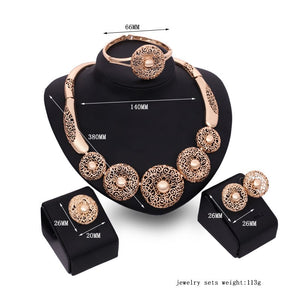 Bridal Jewelry sets for woman Hollow Necklace Earrings Ring Bracelet