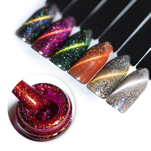Glitter Magnetic Gel Magnet Cat Eye Laser Nails Gel Polish Soak