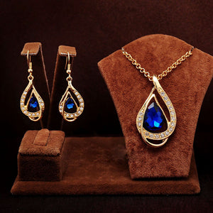 Water Drop Jewelry Sets for Women Fashion Crystal Necklace