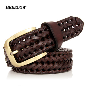 Genuine Leather Female Belt Woven Knitted Quality Belt Male Luxury
