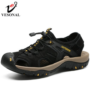Genuine Leather Casual Sandals Male For Men Summer Walking Sneakers
