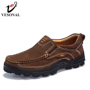 Genuine Leather Casual Work Shoes For Men Oxfords Male Loafers