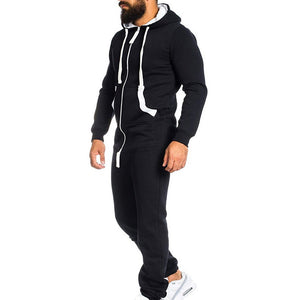 Men Running Sets Thickening Sports Jumpsuit Hoodie Outdoor Suit