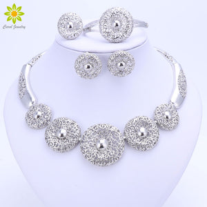 Vintage Women Clear Crystal Hollow Patterns Silver Plated Jewelry Sets