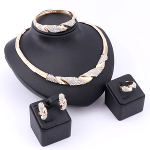 Wedding Bridal Jewelry Set Dubai Gold Color Crystal Women Necklace
