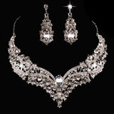 Wedding Bridal Queen Style Rhinestone Necklace Earrings Jewelry Set