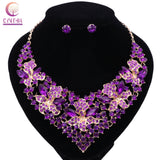 Wedding Jewelry Rhinestones Flower Necklace Earrings Jewelry sets
