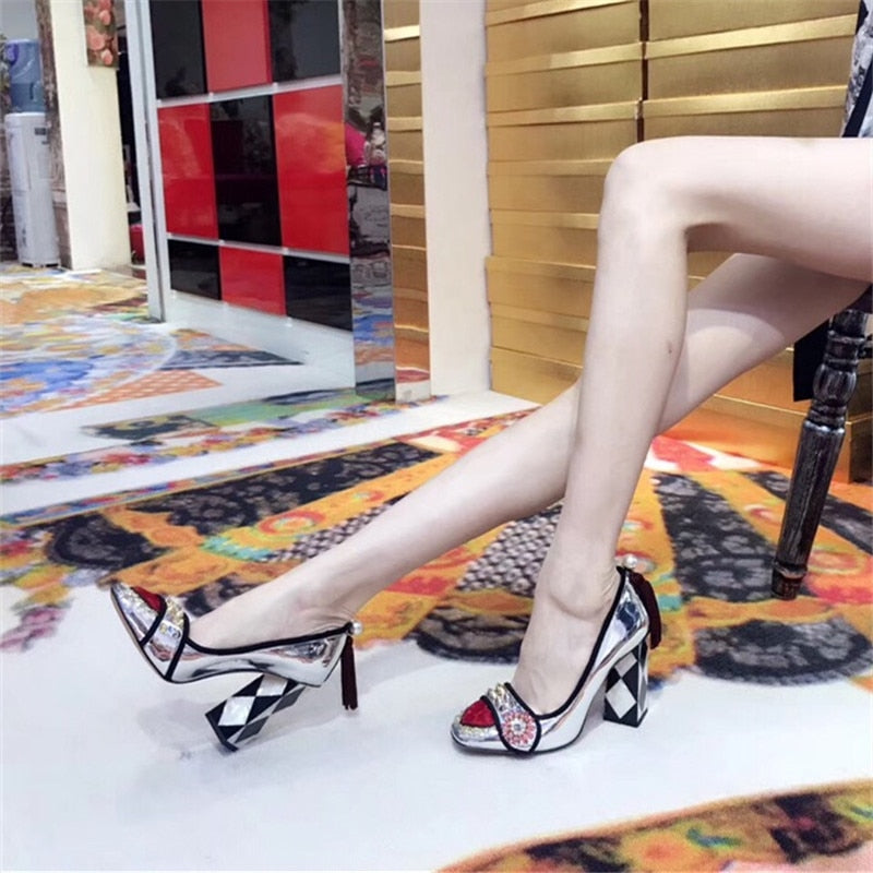 Women Square Toe Crystal Wedding Pumps
