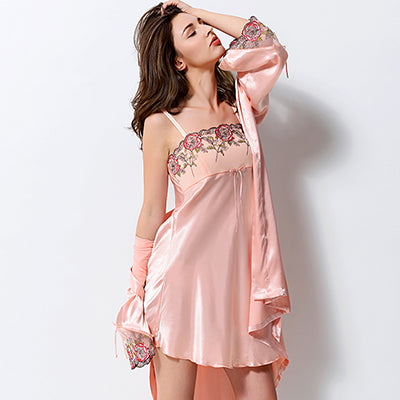 54bb1c7f9f Chilazexpress Xifenni Gown Sets Two-Piece Women Bathrobes Sexy Silk Sa