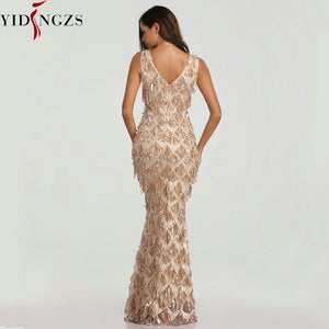 Special Sexy V-neck Tassel Sequin Evening party Dress for Elegant Women