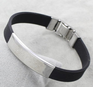 Wristband black Rubber Silicone Stainless Steel Men Bracelet Bangles