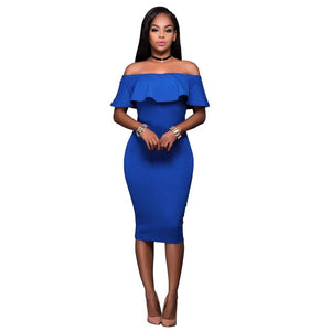 Summer Royal Blue Off The Shoulder Midi Bodycon Dress Celebrity Party Dresses African Women