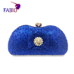 Nigeria evening dress flower design Beautiful women's Bag with diamonds Good quality lady Bag