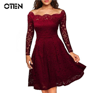 Off Shoulder Lace embroidery Cocktail Party Dress
