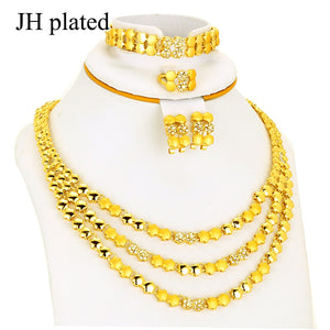 Dubai Jewelry sets Gold Color Necklace & Earrings bridal