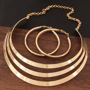 Trendy Gold Metal Torques Necklace