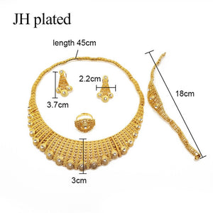 Dubai Fashion gold color jewelry sets African bridal wedding gifts party