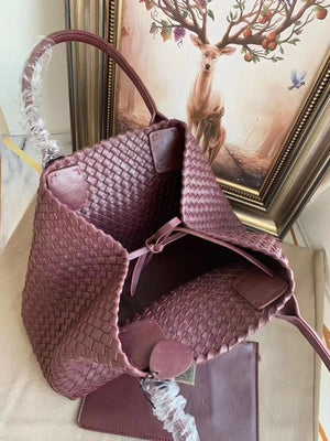 senior designer high quality leather woven shopping bag leather woven handbag