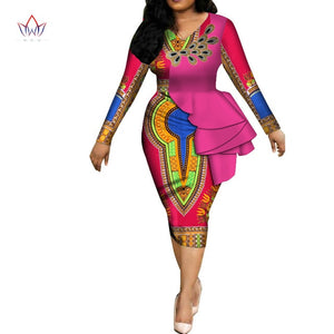 Spring Africa Dresses for women vestidos Print Fabric Elegant Africa Clothes Ruffles