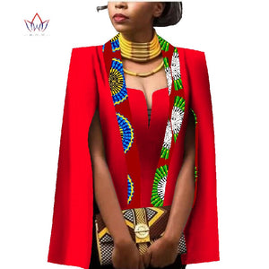 African Women Clothing Full Sleeve Cape Coat Dress Suit African Tops 2 Piece Set Party Dresses