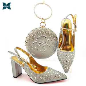 New Arrival Winter Silver Color Italian design Women Shoes and Bag Set
