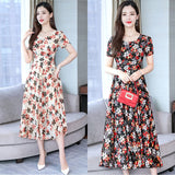 Summer New O Collar Sleeveless Big Swing Floral Dress A Line Sweet Bohemian Temperamental Fashion