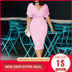 3xl Plus Size Beading Summer Bodycon Dress 2020 African Women Pink Vestiods Elegant Office Ladies Midi High Waist Dress Party