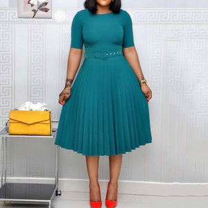 African Style Women Casual Belted Pleated Dress Elegant