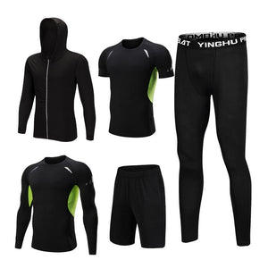 5PCS Set Men's Compression GYM Tights Sports Sportswear Suits