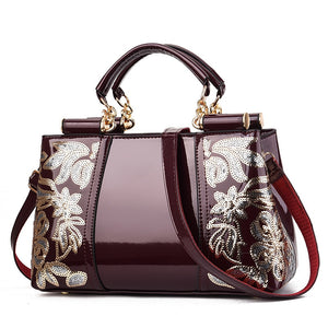 Embroidery Bags for women patent leather