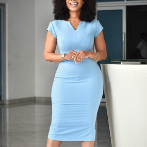 Blue Bodycon Dress Office Ladies Elegant African