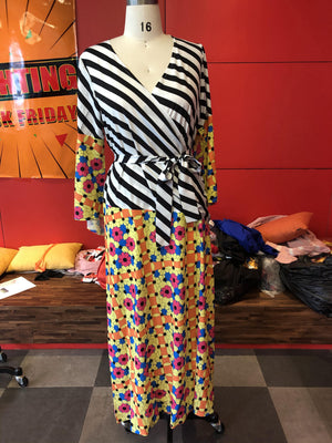 Plus Size 5xl African Patchwork Long Dress Striped Floral Printed A Line Maxi Dresses Robe 2020 Flare Sleeve Female Vestiods