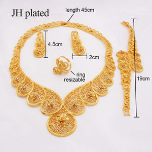Dubai gold color jewelry sets for women Africa Ethiopian wedding gifts  party jewellery