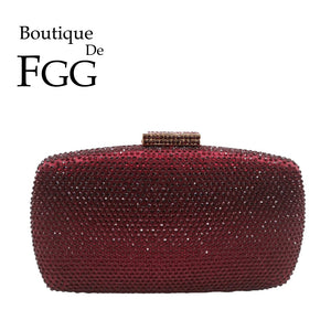 Wine Red Diamond Women Evening Bags Clutches