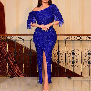 Royal Blue Elegant Sequins Dress Bodycon Split Bodycon Ankle Length African Wedding Party