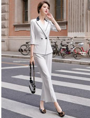 Fashion stripe ladies office suite