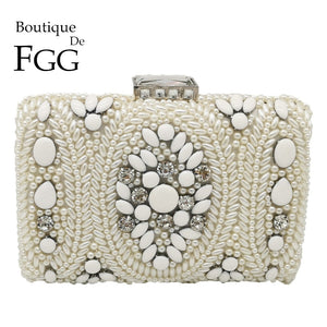 Vintage White Beaded Clutch Bridal Purses and Handbags
