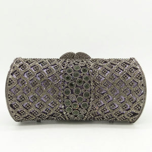 Dazzling Silver Women Crystal Clutch Purses