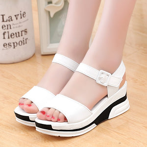 2020 Summer shoes woman Platform Sandals Women Soft Leather Casual Open Toe Gladiator wedges Trifle