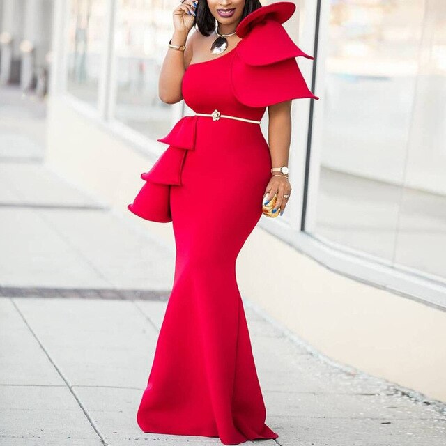Women One Shoulder Christmas Party Dress Red Maxi Ruffles Celebrate African Mermaid Long Bodycon Dresses