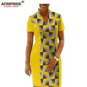 Plus size African women dress short sleeve knee-length casual fall dress pure cotton linings