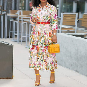 Spring Autumn Women Fashion Pleated Floral Midi Dress Elegant 3/4 Sleeve Print Plus Size African Ladies